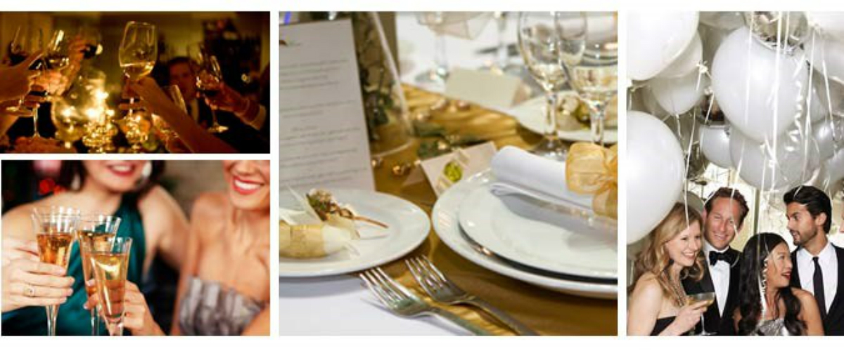 Collage of images including enjoying some wine, close up of a dinnerware, guests smiling under some balloons
