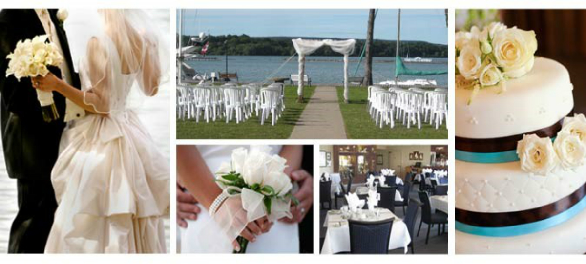 Collage of images including a couple by the lake, setting for an outdoor wedding by the water, a bouquet, wedding cake, dining area